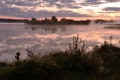 Картинка пейзаж, закат, туман, река