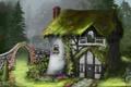Картинка зелень, цветы, дом, сад, арт, арка