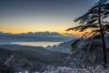 Картинка деревья, горы, озеро, восход, рассвет, утро, Япония