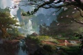Картинка девушка, деревья, пейзаж, скалы, азия, зонт, лепестки