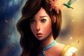 Картинка цветок, девушка, лицо, птица, колибри, арт, кулон