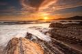 Картинка море, волны, небо, солнце, облака, лучи, камни