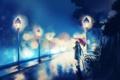 Картинка девушка, ночь, зонтик, дождь, аниме, арт, лавочка