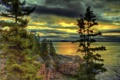 Картинка небо, облака, деревья, горы, тучи, озеро, скалы