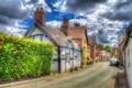 Картинка облака, улица, Англия, дома, обработка, кусты, Little Budworth