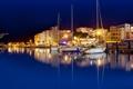 Картинка ночь, огни, отражение, лодки
