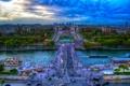 Картинка мост, река, Франция, Париж, вид сверху