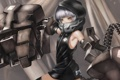 Картинка металл, оружие, руки, капюшон, девочка, хвост, black rock shooter