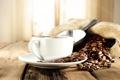 Картинка кофе, мешок, кофейные зерна, лопатка