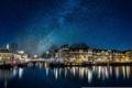 Картинка звезды, космос, огни, Нидерланды, Млечный путь, зеркало, Амстердам