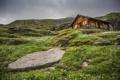 Картинка зелень, небо, горы, природа, дом