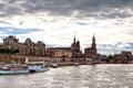 Картинка мост, здания, Германия, набережная, прогулочный теплоход, река Эльба, Дре́зден