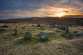 Картинка закат, камни, England, Sticklepath, Nine Maidens Belstone Dartmoor