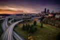 Картинка закат, город, дороги