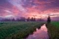 Картинка небо, облака, природа, река, утро, канал, розовые