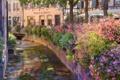 Картинка цветы, улица, канал, France, Alsace, Colmar