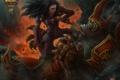 Картинка девушка, скалы, монстр, арт, кинжал, World of Warcraft, kerem beyit
