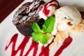 Картинка мята, десерт, пирожное, соус, орехи, мороженое