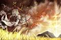 Картинка поле, небо, девушка, дерево, ветер, листва, платье