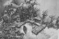 Картинка дом, лодка, рисунок, причал, карандаш, мрачно