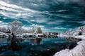 Картинка зима, небо, вода, облака, снег, деревья, пейзаж