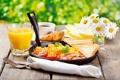 Картинка цветы, природа, кофе, ромашки, завтрак, сок, хлеб