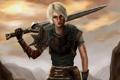 Картинка девушка, меч, арт, Dragon Age 2, Hawke