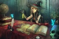 Картинка бабочки, часы, книги, череп, шляпа, перчатки, ведьма