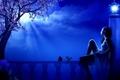 Картинка цветок, девушка, облака, ночь, дерево, луна, фонарь