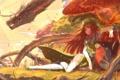 Картинка девушка, улыбка, птица, дракон, аниме, арт, зонты