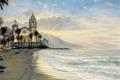 Картинка море, закат, город, пальмы, берег, чайки, лодки