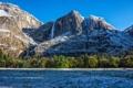 Картинка зима, лес, деревья, долина, Калифорния, California, Национальный парк Йосемити