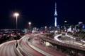Картинка дорога, ночь, огни, Новая Зеландия, Окленд, New Zealand, Auckland