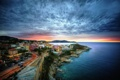 Картинка море, небо, пейзаж, закат, природа, город, побережье