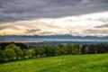 Картинка небо, облака, деревья, горы, тучи, коровы, пастбище