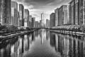 Картинка вода, город, река, здания, небоскребы, Чикаго, черно-белое
