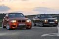Картинка BMW, Чёрный, Два, Передок, Оранжевый, 1 Series, Улица