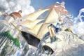 Картинка небо, облака, город, настроение, карабль, аниме, девочка