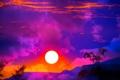 Картинка небо, солнце, облака, закат, горы