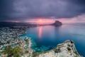 Картинка море, закат, город