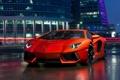 Картинка ночь, здания, Lamborghini, Ламборджини, красная, Aventador