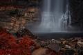 Картинка осень, лес, пейзаж, природа, камни, водопад