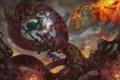 Картинка девушка, магия, змея, арт, хвост, посох