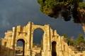 Картинка небо, город, дерево, руины, Иордания, Джараш