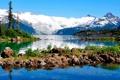 Картинка лес, Пейзаж, ландшафт, природа, горы, озеро, камни