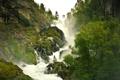 Картинка ручей, река, туман, Горы, Лес, горная река