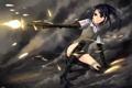 Картинка девушка, оружие, кровь, робот, аниме, арт, форма