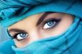 Картинка глаза, взгляд, девушка, лицо, брови, платок