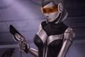Картинка девушка, пистолет, оружие, mass effect 3, EDI