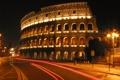 Картинка город, огни, вечер, фонари, архитектура, колизей, италия